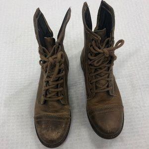 Short brown combat boots